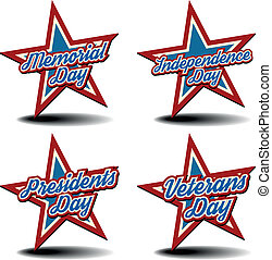 National Holiday Stars - detailed illustration of a...