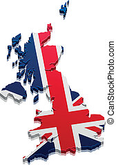 Map Great Britain - detailed illustration of a 3D Map of...