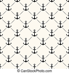 Seamless vector pattern of anchor shape and line Endless...
