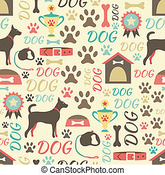 Retro seamless vector pattern of dog icons. Endless texture...