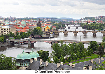 Prague and the famous Charles bridge across Vltava river, Czech Republic