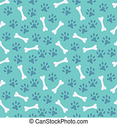Animal seamless vector pattern of paw footprint and bone...