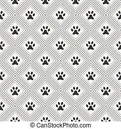 Seamless animal pattern of paw footprint in repeating rhombus