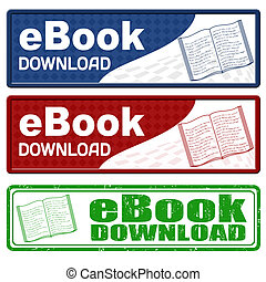Ebook download icons and grunge stamp on white background,...