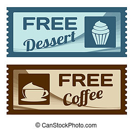 Free dessert and coffee coupons on white background, vector...