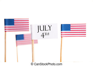July 4th - Banner with July 4th and American Flags in the...