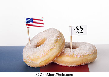 Donuts with July 4th - Two Donuts with American Flag and...