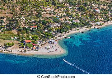 Zrnovo - Croatian tourist destination - Helicopter aerial...