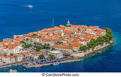 Korcula old town aerial photo - Aerial helicopter shoot of...