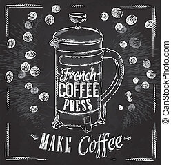 Poster French coffee press chalk - Poster lettering French...