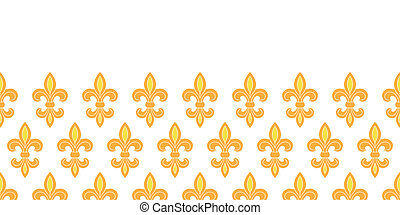 Golden lily horizontal seamless pattern background