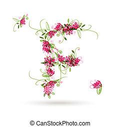 Floral letter F for your design
