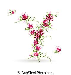 Floral letter Y for your design
