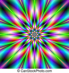 Green Red and Blue Star - A digital abstract fractal image...