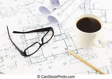 casa, desenhos técnicos, arquitetura, negócio