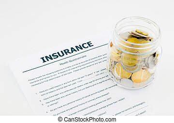 insurance health questionnaire and coins