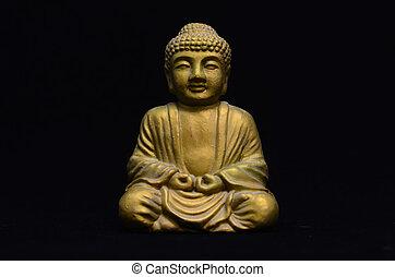 Little Golden Buddha Image - Golden Buddha Statue on a Black...