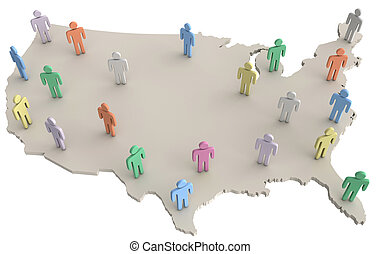 USA population people standing on America map - Group of...