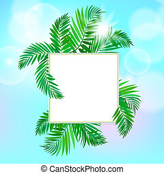 Square card with palm leaves - Vector illustration of a card...