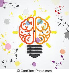 Creative light bulb Idea concept ,colorful bran symbol...