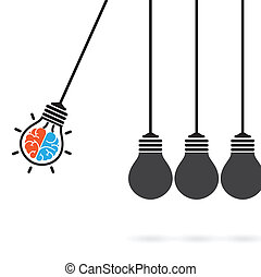 Newton's cradle concept on background,creative light bulb...
