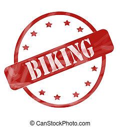 Red Weathered Biking Stamp Circle and Stars