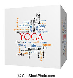 Yoga 3D cube Word Cloud Concept with great terms such as...