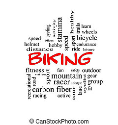 Biking Word Cloud Concept in red caps