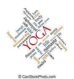 yoga, begrepp, ord, moln, Meta