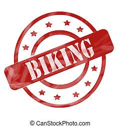 Red Weathered Biking Stamp Circles and Stars