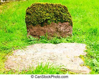Aged grovestone in an ancient church graveyard