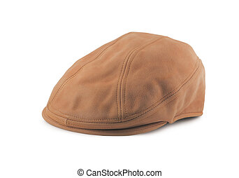 Leather Tweed Cap - leather tweedtwill golf cap isolated on...