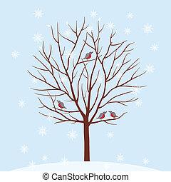 Winter tree. Vector illustration.