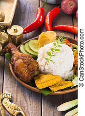 indonesian food, fried chicken rice