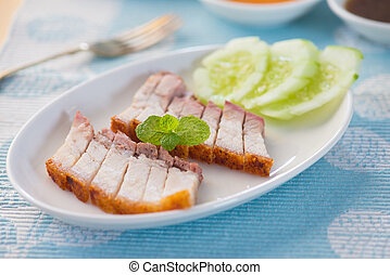 Crispy roasted pork belly chinese cuisine