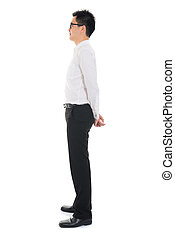 Young Asian business man full body side view isolated on white b