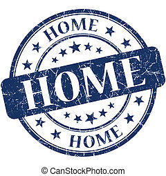 Home blue round grungy vintage rubber stamp