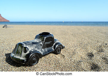 Toy Car on the Seashore - Toy car on Sand Beach...