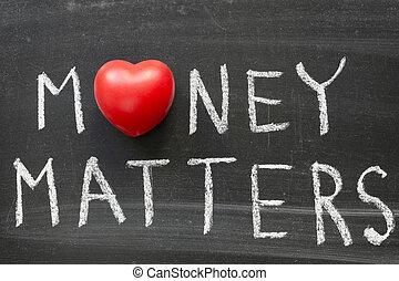 money matters phrase handwritten on blackboard