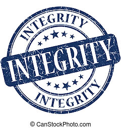 Integrity blue round grungy vintage rubber stamp