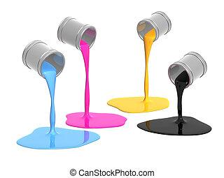 Palette CMYK - Conceptual image - a palette CMYK. Objects...