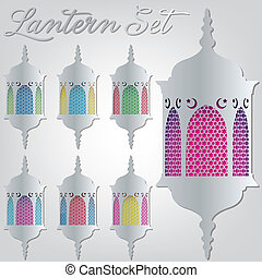 Arabesque lantern set in vector format