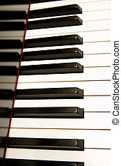 Piano keyboard - detail of keys on a piano ready for music...