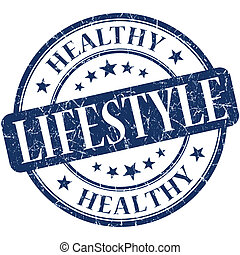 Healthy lifestyle blue round grungy vintage rubber stamp