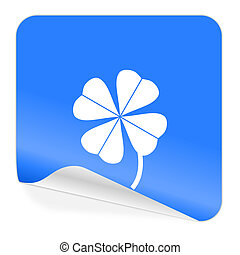 four-leaf clover blue sticker icon