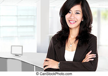 beautiful young business woman - confident smiling beautiful...