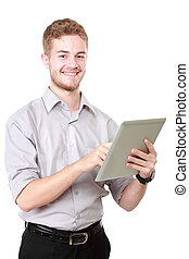 Young businessman using tablet pc