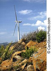 Wind Turbine in sunny day