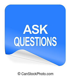 ask questions blue sticker icon