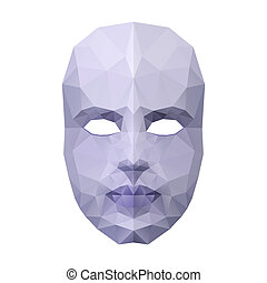 Polygonal face mask - Abstract polygonal face mask on white...